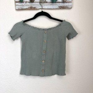 Orange Kiss Ribbed Top, Button Front Design